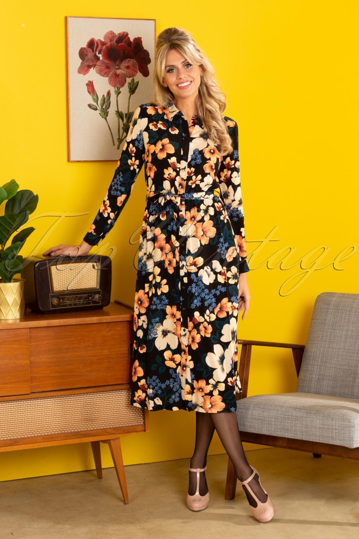 70s Dresses – Disco Dress, Hippie Dress, Wrap Dress 70s Olive Tennessee Midi Dress in Black £98.00 AT vintagedancer.com