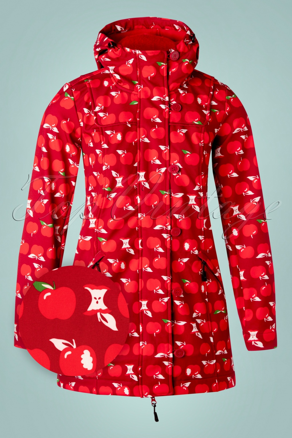 1960s Style Dresses, Clothing, Shoes UK 60s Wild Weather Long Anorak in Eat The Apple £133.65 AT vintagedancer.com