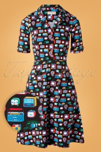 60s Monica Radio Rock Dress in Black