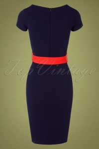 Vintage Chic 31141 Pencildress Navy Red Fiesta 07222019 000007W