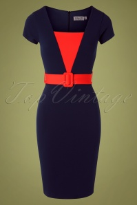 50s Fiesta Pencil Dress in Navy