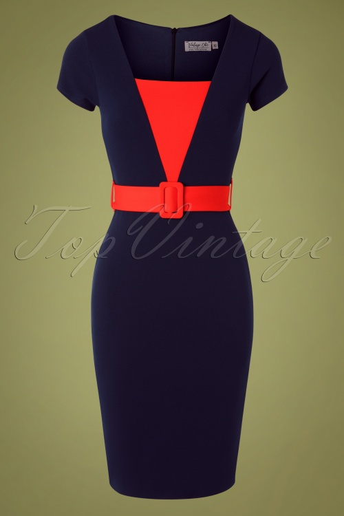 Vintage Chic 31141 Pencildress Navy Red Fiesta 07222019 000002W