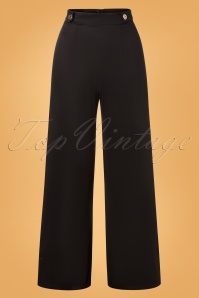 Vintage Chic for TopVintage 40s Winona Wide Trousers in Black