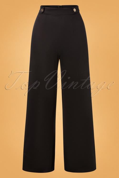 Vintage Chic 31184 Pants Black Wide Gold 07222019 05W
