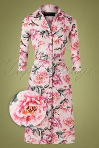 Paper Dolls 50s Marston Floral Shirt Dress in Blush