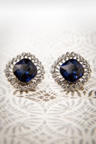 50s Sapphire Stud Earrings in Silver