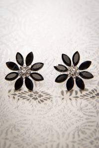 50s Black Flower Earstuds in Silver