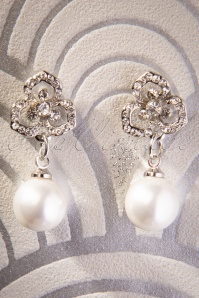 50s Pearl Bloom Drop Earrings in Silver