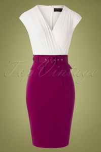 Paper Dolls 50s Grange Pencil Dress in White and Magenta