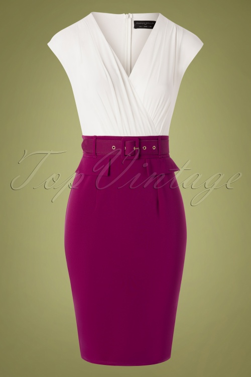 Paper Dolls 28886 Pencildress White Aubergine Bodycon 07222019 000004W