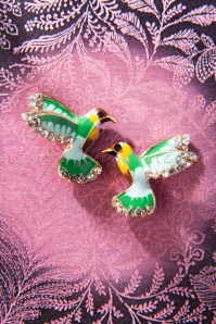 50s Like a Bird Stud Earrings in Green and Gold