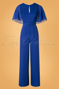 Paper Dolls 70s Cape Sleeve Low Back Jumpsuit in Cobalt Blue