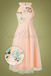 50s Bea Tulle Midi Swing Dress in Blush