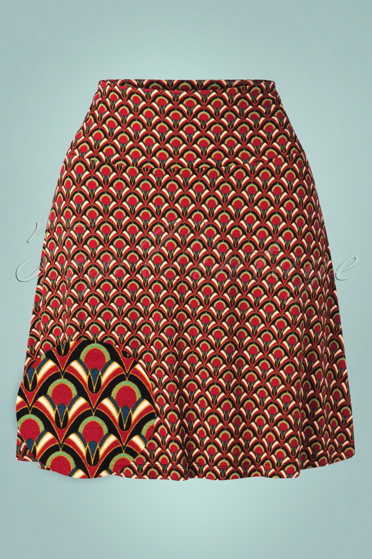 60s Skirts | 70s Hippie Skirts, Jumper Dresses 60s Calypso Borderskirt in Cherry Red £55.52 AT vintagedancer.com