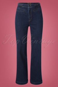 70s Garbo Braid Pants in Denim Blue