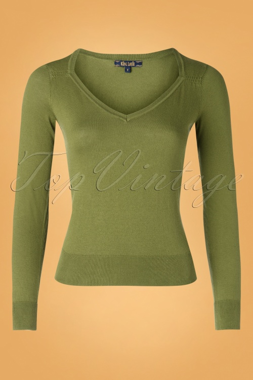 King Louie 29446 Diamond Knit Top Cottonclub Olive green20190621 002W