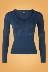 50s Diamond Cotton Club Top in Autumn Blue