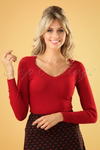 50s Diamond Cotton Club Top in Chili Red