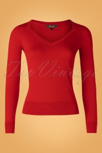 King Louie 29448 Diamond Knit Top Cottonclub Chili Red20190621 002W