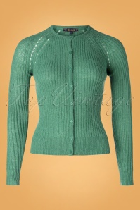 60s Fluffy Roundneck Ajour Cardi in Fir Green