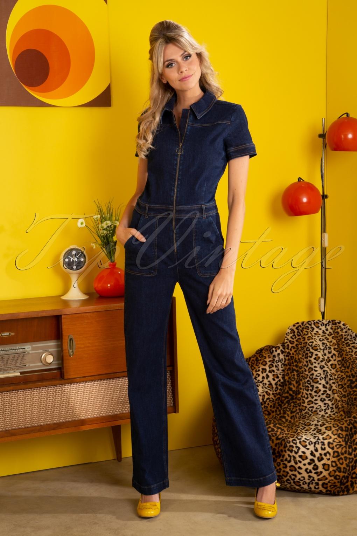 60s – 70s Pants, Jeans, Hippie, Bell Bottoms, Jumpsuits 70s Garbo Denim Jumpsuit in Ink Blue £129.61 AT vintagedancer.com