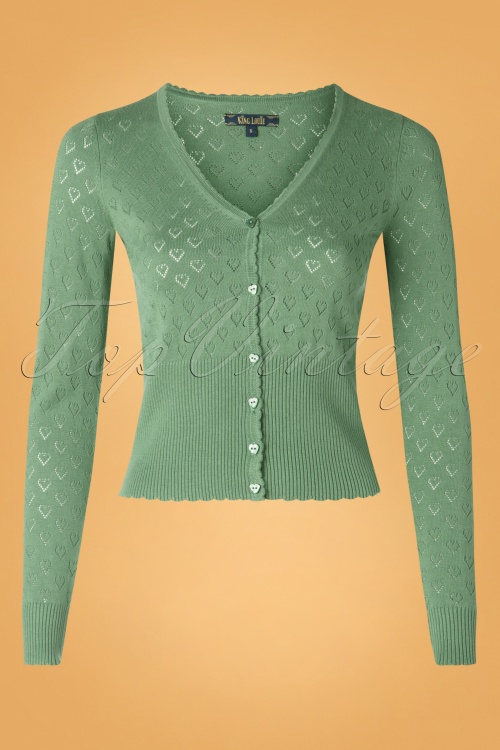 King Louie 29355 Cardi V heart Ajour In Fir Green20190621 004W
