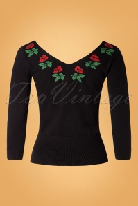 50s Parton Double V Neck Top in Black
