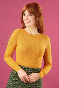 50s Audrey Heart Ajour Top in Honey Yellow