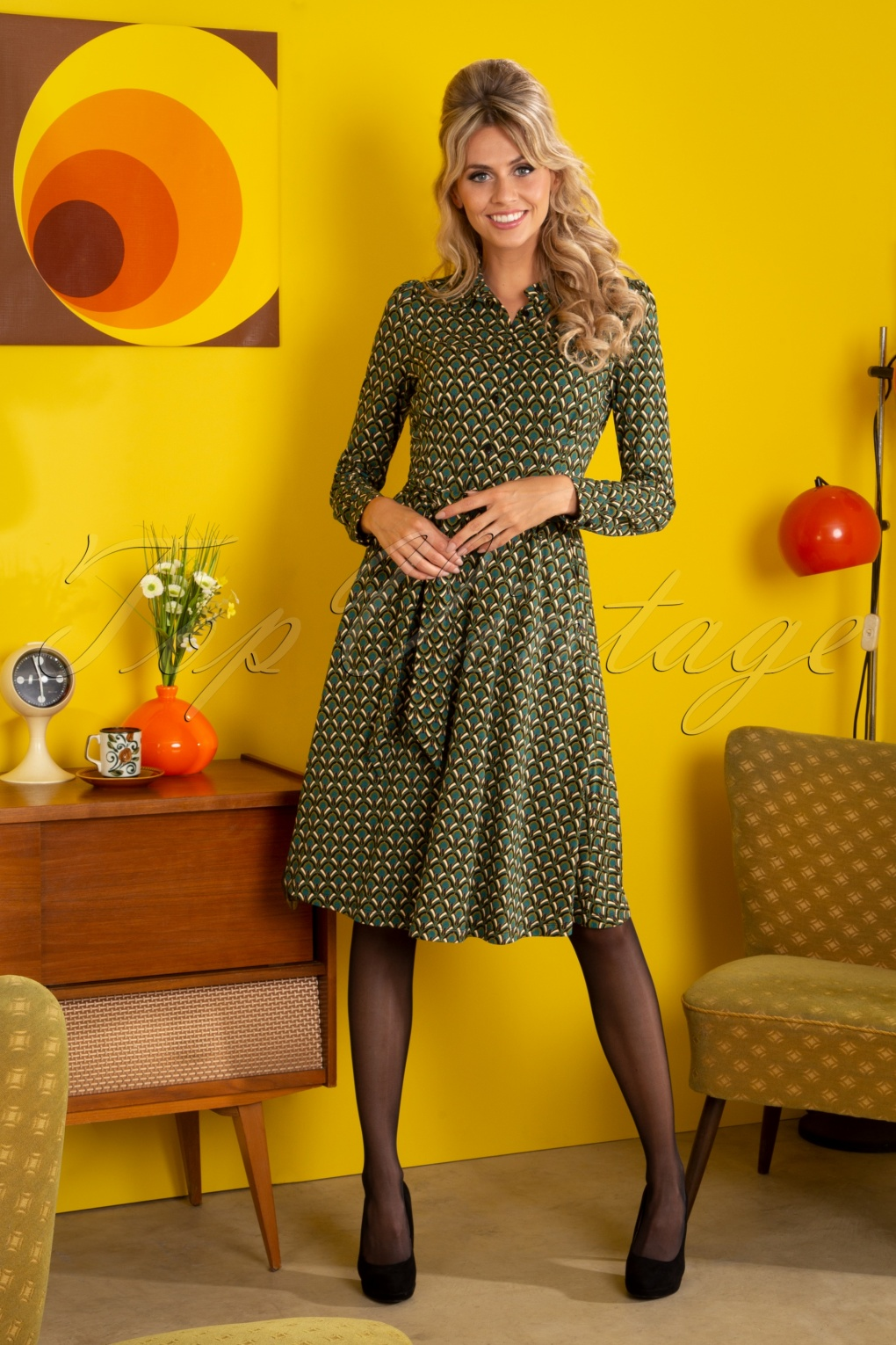 1960s Style Dresses, Clothing, Shoes UK 60s Sheeva Calypso Dress in Lapis Blue £98.73 AT vintagedancer.com