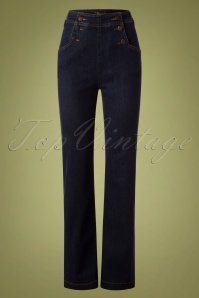 60s Sailor Denim Pants in Ink Blue