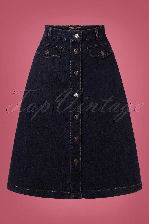 60s Skirts | 70s Hippie Skirts, Jumper Dresses 60s Caroll Skirt in Denim Blue £74.05 AT vintagedancer.com