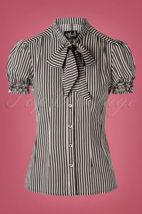 Hell Bunny 30741 Humbug Blouse Black and White Striped 20190723 004W