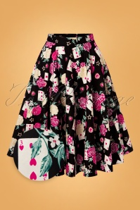 50s Queen of Heart Swing Skirt in Black