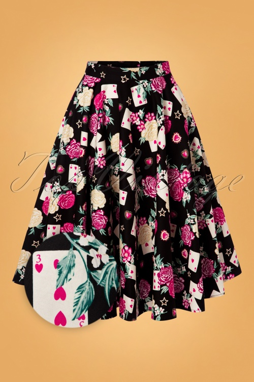 Hell Bunny 30870 Swingskirt Black QueenOfHeart Floral Cards 2019 006Z