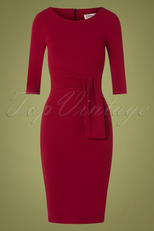Vintage Chic 31166 Pencil Dress in Wine Red 20190725 003W