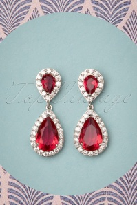 50s Yvonne Drop Earrings in Ruby Red
