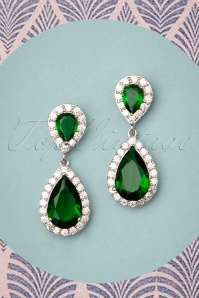 50s Yvonne Drop Earrings in Emerald Green