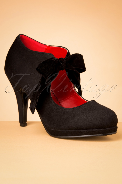 1950s Style Shoes | Heels, Flats, Saddle Shoes 50s Ellen High Heel Shoe Booties in Black £55.96 AT vintagedancer.com