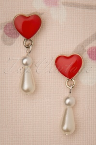 Pearl Love Drop Earrings Années 50 en Ivoire