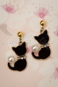 50s Pearl Cat Drop Earrings in Gold