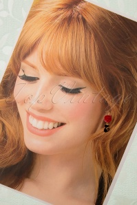 Sweet Cherry 31321 Fine Cat Earrings Red Rose Flower Gold 20190725 010 W