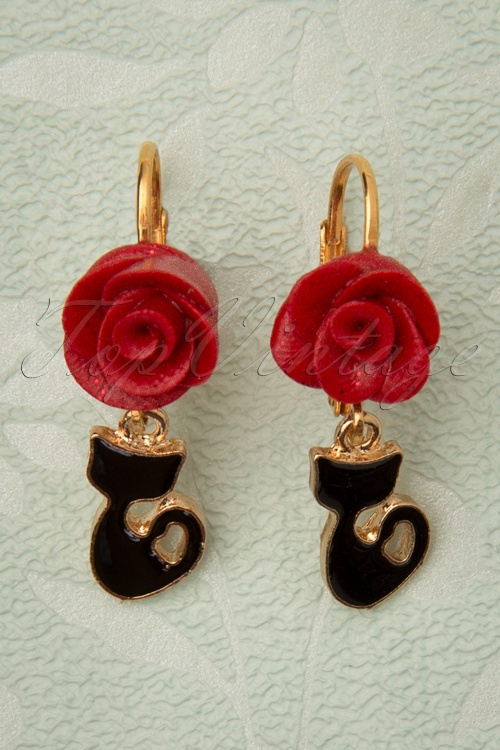 Sweet Cherry 31321 Fine Cat Earrings Red Rose Flower Gold 20190725 002 W