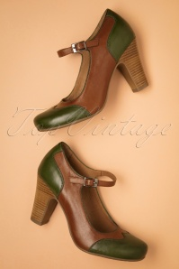 50s Jazzy Pumps in Brandy and Green