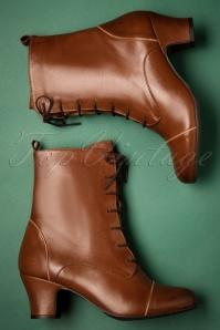 Fabian Leather Ankle Booties Années 40 en Cognac