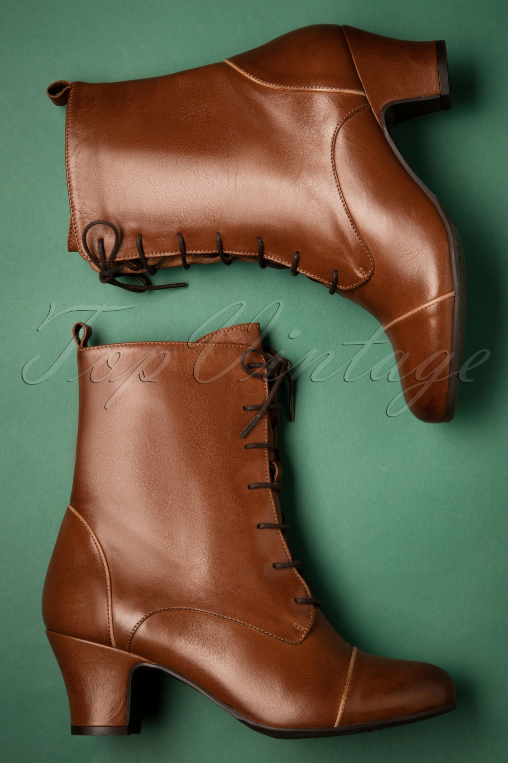 Vintage Boots- Buy Winter Retro Boots 40s Fabian Leather Ankle Booties in Brandy £144.84 AT vintagedancer.com