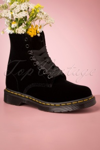 1460 Pascal Velvet Ankle Boots in Black