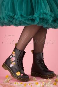 Dr Martens 29098 Docs Boots Black Vonda Boots Flower Pastel 20190724 012 W