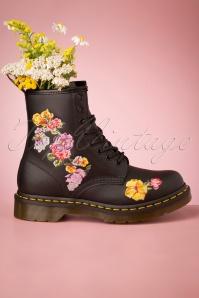 Dr Martens 29098 Docs Boots Black Vonda Boots Flower Pastel 20190723 007 W