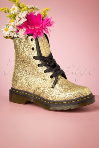 1460 Farrah Chunky Glitter Ankle Boots in Gold