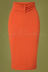50s Michelle Pencil Skirt in Orange Salamander